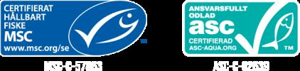 Vi använder bara MSC- och ASC-certifierad fisk och skaldjur. Våra räkor och tonfisk kommer ifrån ett MSC-certifierat hållbart fiske. Vår lax och vanameiräka kommer ifrån en ansvarsfull ASC-certifierad odling. Läs mer på: www.msc.org/seoch www.asc-aqua.org